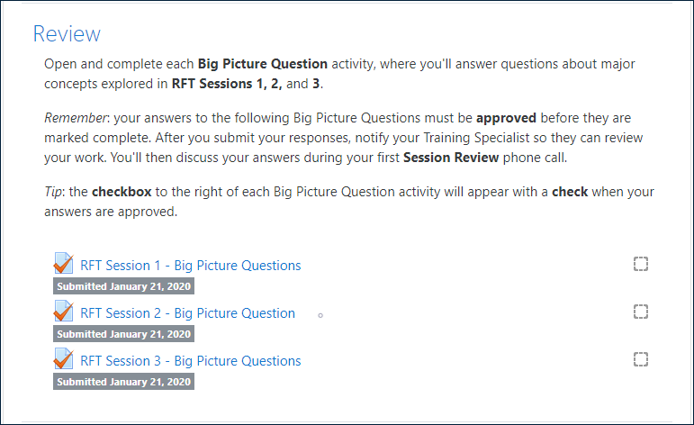 """Example """"Review"""" section of an RFT Session, including BPQ instructions and three BPQ activities, with all three displaying the label: """"Submitted January 21, 2020"""""""