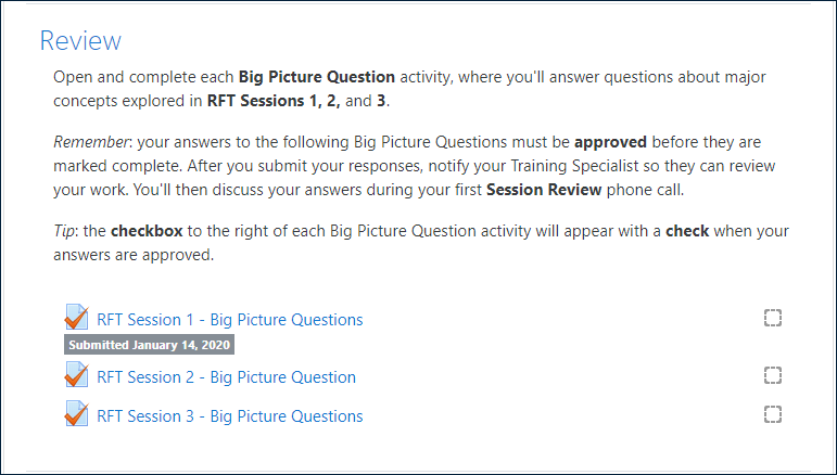 """Example """"Review"""" section of an RFT Session, including BPQ instructions and three BPQ activities, with the first one displaying the label: """"Submitted January 14, 2020"""""""