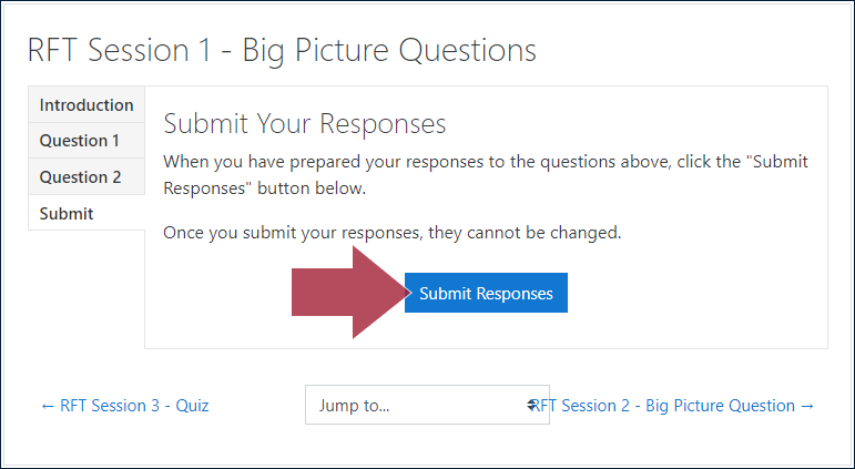 "Example BPQ activity page, displaying the ""Submit Your Responses"" tab and instructions: 'When you have prepared your responses to the questions above, click the ""Submit Responses"" button below. Once you submit your responses, they cannot be changed', and with an arrow indicating the ""Submit Responses"" button"