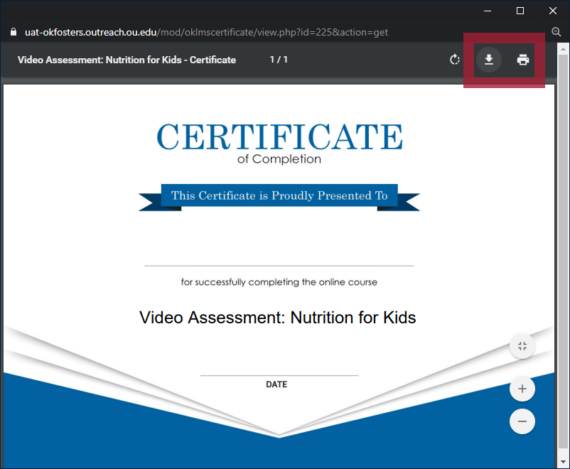 "Example Video Assessment Certificate of Completion document in a pop-up browser window, with the ""download"" and ""print"" icons highlighted"