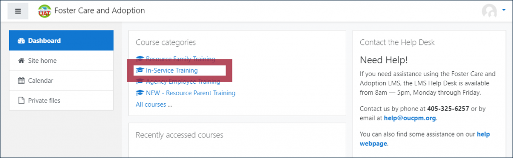 "Example dashboard page, displaying a ""Course categories"" block with the ""In-Service Training"" link highlighted"
