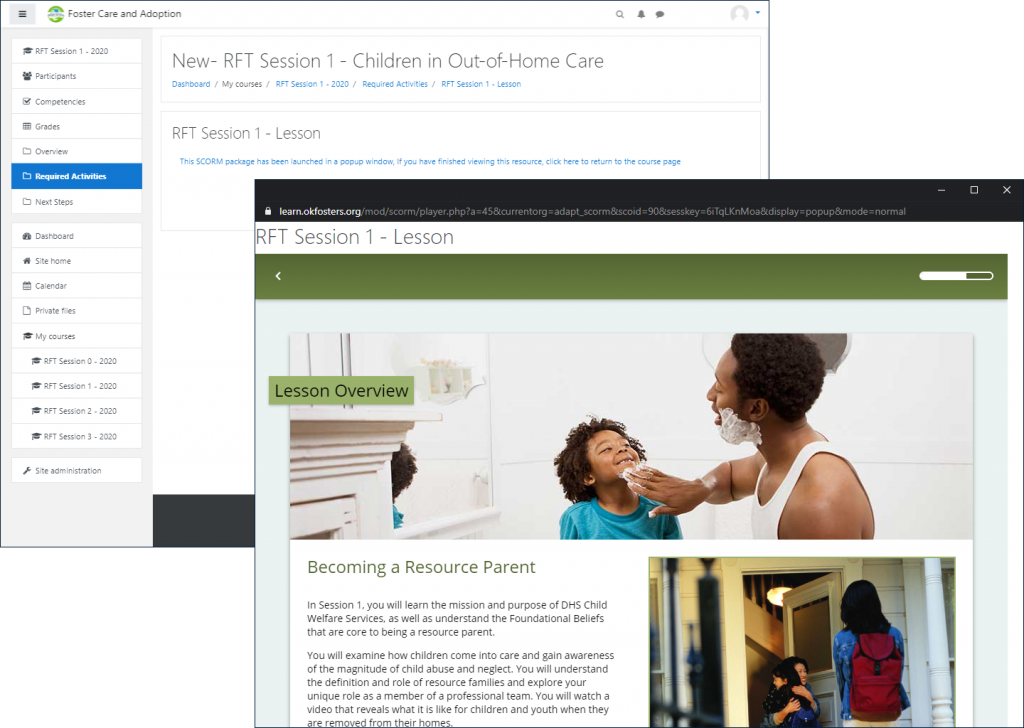 "Example RFT Lesson pop-up window with title ""RFT Session 1 - Lesson"", with the original LMS window open in the background displaying the lesson launch page: ""This SCORM package has been launched in a popup window..."""