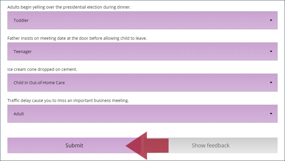 "Example dropdown question with four information prompts, each with a matching answer selected, and an arrow indicating the ""Submit"" button"