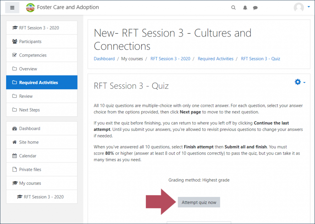 "Example RFT quiz launch page, with an arrow indicating the ""Attempt quiz now"" button"