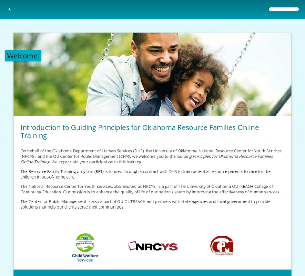 Example page from RFT Session 0: Introduction to Guiding Principles for Oklahoma Resource Families Online Training, displaying logos from (1) OKDHS Child Welfare Services, (2) National Resource Center for Youth Services (NRCYS), and (3) OU Center for Public Management (CPM)