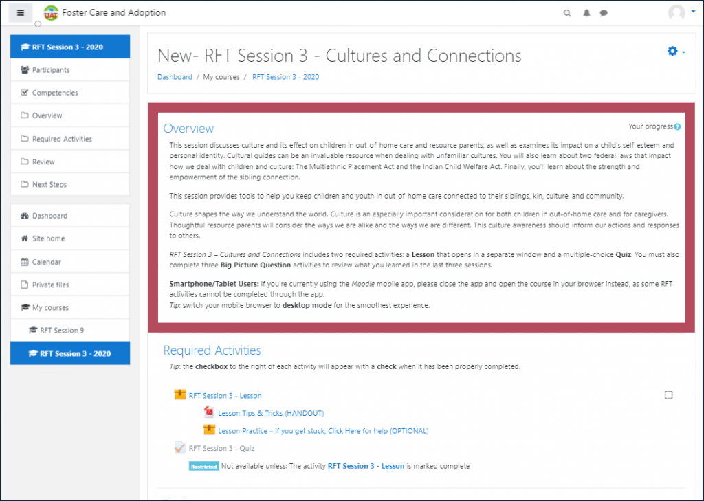"""Example RFT Session page, with the """"Overview"""" section highlighted, including a course summary, overview of included activities (Lesson, Quiz, Big Picture Questions), and instructions for Smartphone/Tablet Users"""