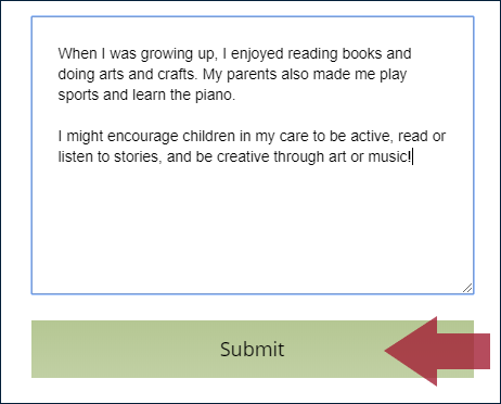 "Example thinking question text box, displaying a complete answer typed in the box, and an arrow indicating the ""Submit"" button"
