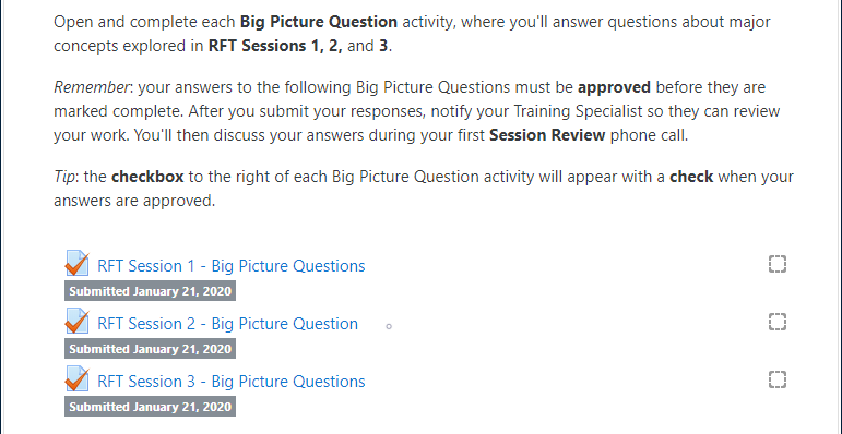"Example ""Required Big Picture Question"" section of an RFT Session, including BPQ instructions and three BPQ activities, with all three displaying the label: ""Submitted January 21, 2020"""