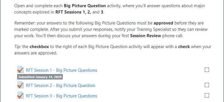 "Example ""Required Big Picture Question"" section of an RFT Session, including BPQ instructions and three BPQ activities, with the first one displaying the label: ""Submitted January 14, 2020"""